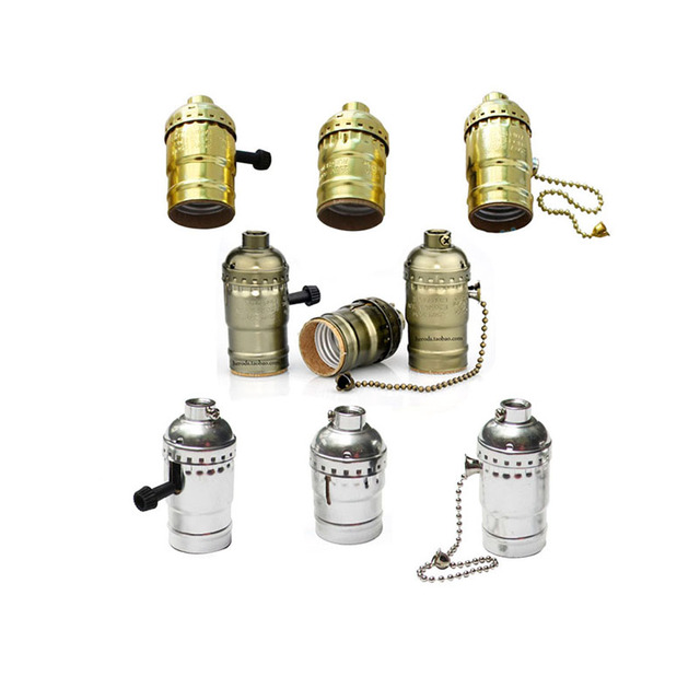 Factory Wholesale Price Vintage Retro Socket Holder E26/E27 Lamps Base,Gold/Silver/Copper UL/110-240v Knob Switch Base(DD-66)