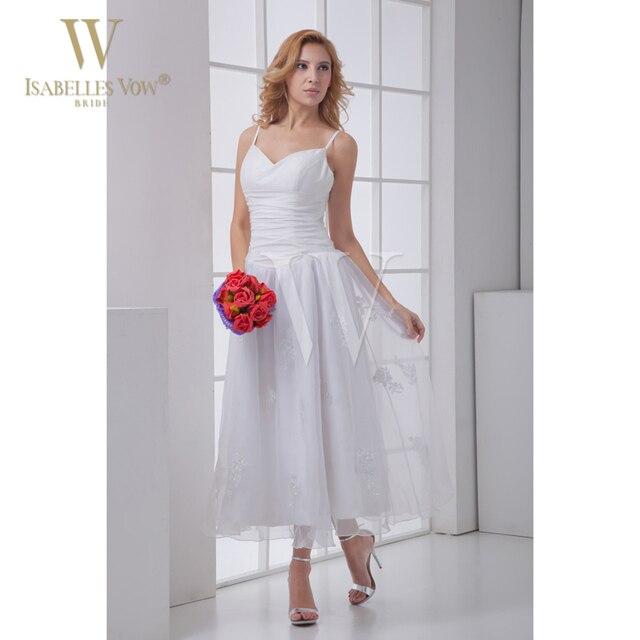 Summer Wedding Dresses White Beach V Neck Tea Length Destination Chiffon Bride Dress For