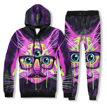 Hot 2 Piece Set Men And Women Casual Tracksuits 3D Print Three eyes cat Fashion Hoodies Hooded+Pants Sweatshirt Track Suit S-XXL