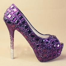 Popular  Purple Women's Crystal Bridal Evening Wedding Prom Party Bridesmaid shoes high heel lady's formal Rhinestone Shoes