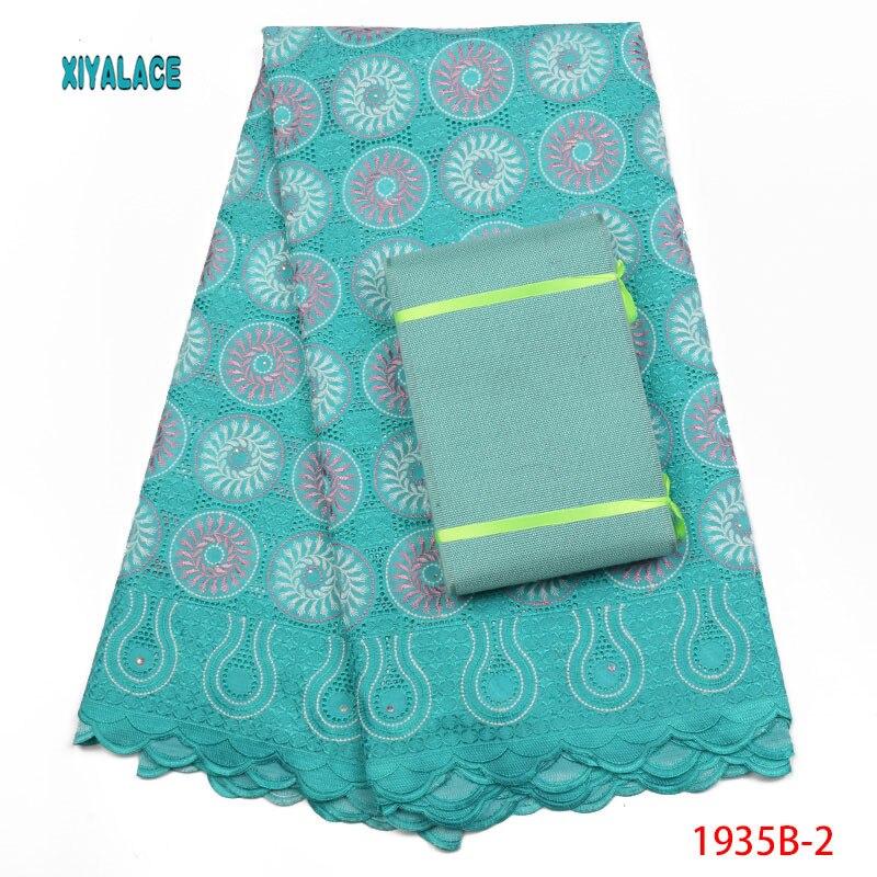 AfricanLace tissu 2018 haute qualité coton tissu avec garniture pierres mode femmes coton tissu robe ajouter Aso Oke PGC1935B-2