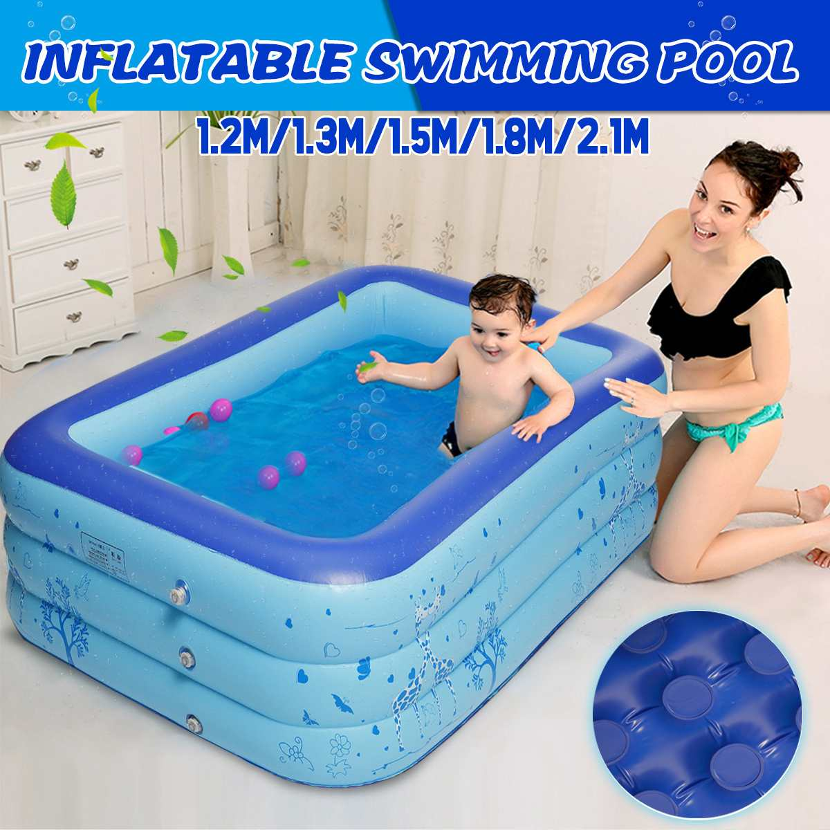 Inflatable Swimming Bath Pool Toys Outdoor Children Paddling Bathtub Summer Fun Blue PVC Rectangle 1.2M/1.3 M/1.5M/1.8M/2.1M