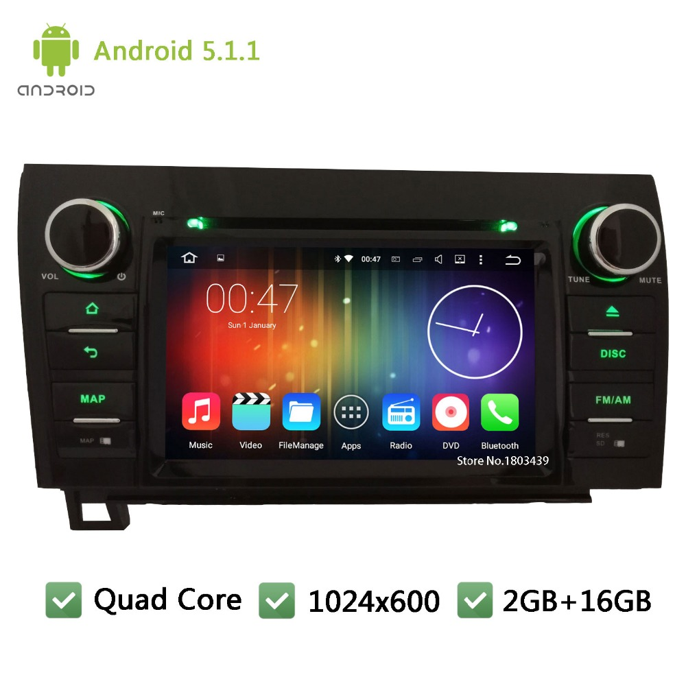 Quad core WIFI 2Din FM BT Android 5.1.1 7inch 1024*600 Car DVD Player Radio Stereo PC Audio Screen GPS For Toyota Tundra Sequoia