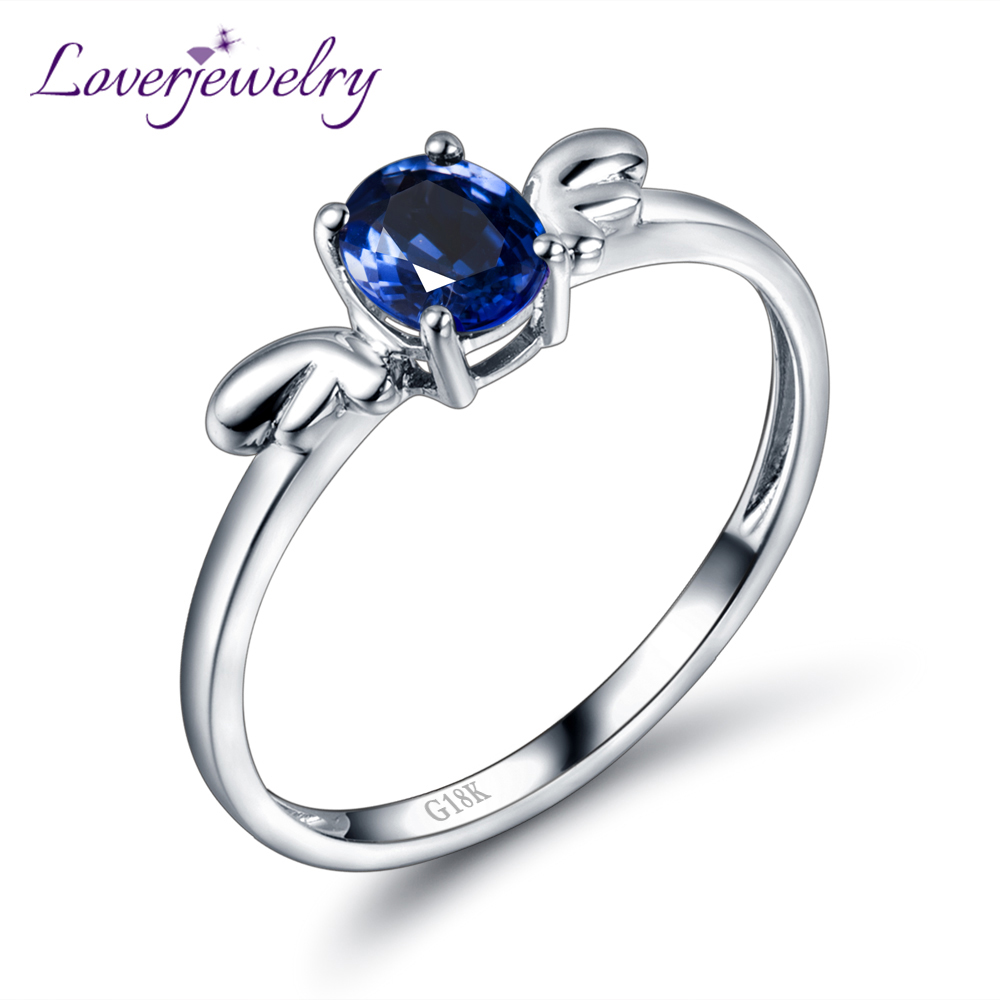 New Arrival 18kt White Gold Natural Oval Blue Sapphire Engagement Ring For  Girl Jewelry Wu229(