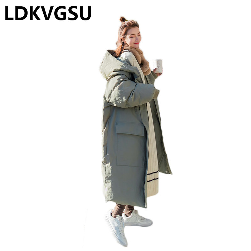 Korean Winter Jacket Women's Long Parkas Coat Plus Size Loose Hooded 2018 Winter New Large Pocket Thick Warm Outerwear Is1243
