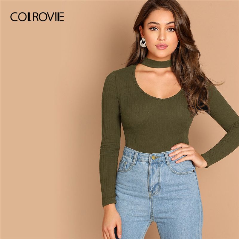 COLROVIE Army Green Scoop Neck Choker Neck Rib Knit T Shirt Women Tee Shirts 2019 Spring Elegant Long Sleeve Sexy Ladies Tops