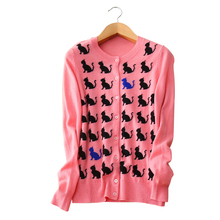 100% cashmere cardigans women's light pink cats pattern sweaters long sleeve o-neck single breasted spring/autumn outwear