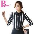 Рубашки Полосатый офиса для женщин Новый корейский стиль рабочая одежда 2016 Мода Cute выдалбливают с длинным рукавом Блузка 2016 Плюс Размер Дамы Формальные Блузы и топы