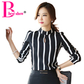 New Korean Style Fashion Cute Hollow Out Long Sleeve Striped Bodysuit Chiffon Blouse 2017 Plus Size Women Office Shirts And Tops