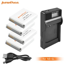 цена на 4X 3.6V 1800mAh NB-6L NB 6L NB6L Battery+LCD USB Charger for Canon IXUS 310 SX275 SX280 SX510 200 105 210 300 S90 S95 SD1300 L20