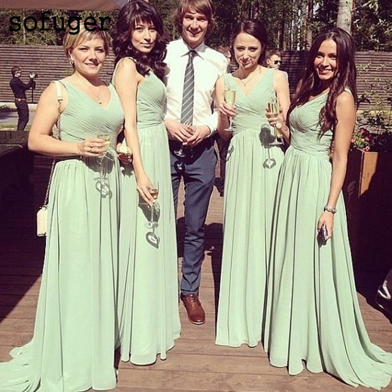 Mint Green Excellent V Neck Chiffon Pleat Backless Special Occasion   Bridesmaid     Dresses   Formal Vestidos Wedding Party   Dresses