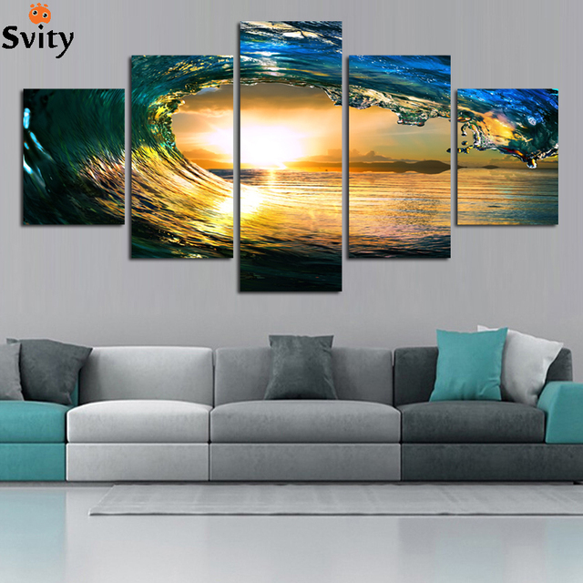 Wall art canvas art print modern blue ocean wall painting for living room home decoration no