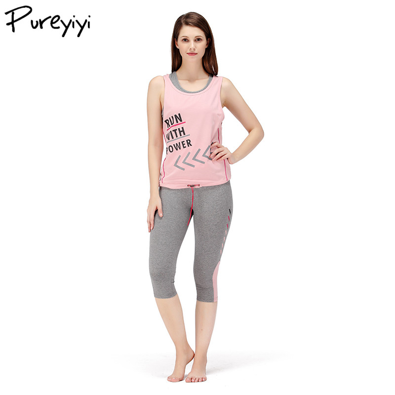 Women's Sportswear Letter Print Cotton Suit for Women 3 Pieces Set Clothing Set Top+Pant+T-shirt Running Gym Clothes Dropshiping