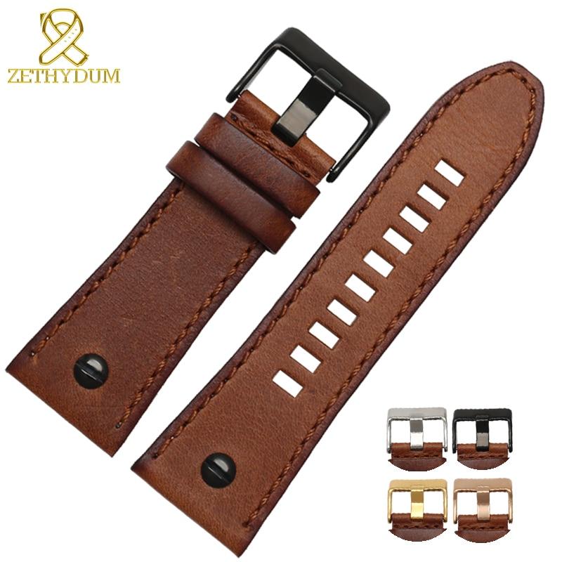 Genuine Leather Bracelet 26mm 28mm Watchband For Diesel Watch Strap 24mm DZ7193 DZ7311 DZ7312 DZ7313 DZ7214 Watch Band