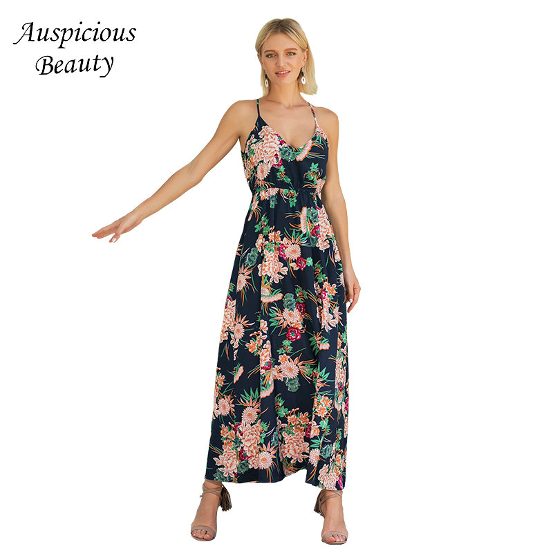 Summer Boho Beach Dress 2018 Elegant Women Sundress Sexy Deep V-neck Floral Print Spaghetti Strap Dress Vinage Long Dress SM531