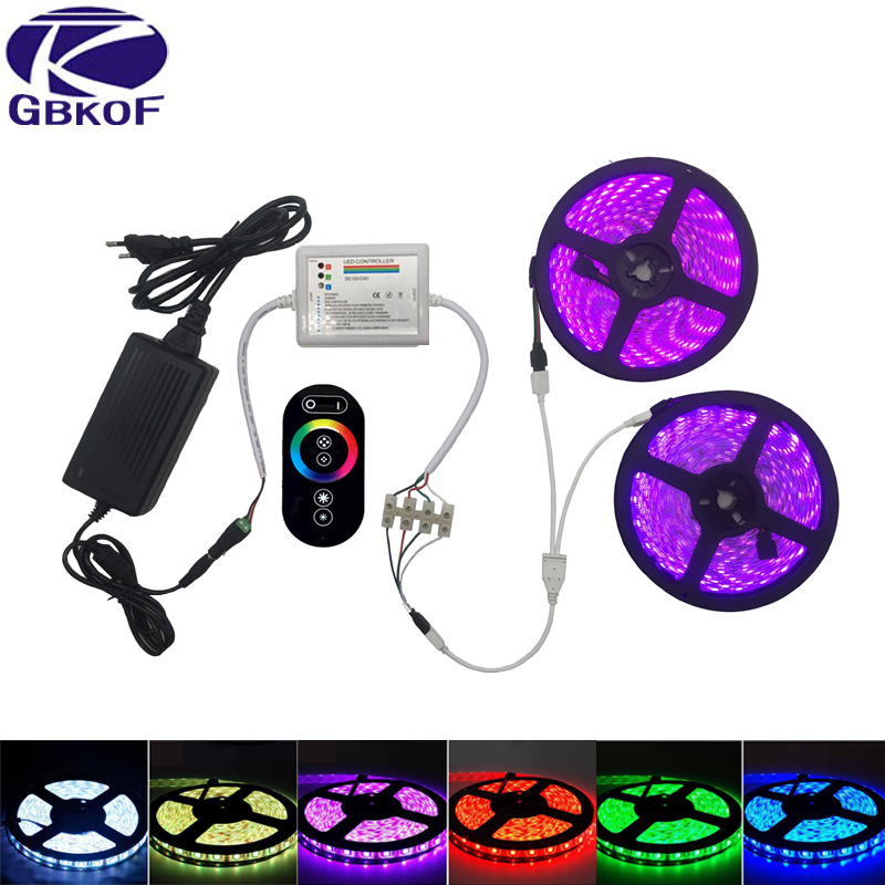GBKOF 20M 15M 10M 5M RGB Led Strip lights 5050 fita de led tape DC12V SMD+RF Touch Remote Controller+12V Power Supply full set 20m smd 5050 rgb led strip light 60leds m led flexible tape rope lights 18a wireless touch remote controller dc 12v power supply
