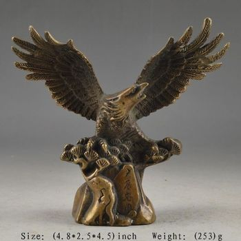 Elaborate Chinese Old Copper Handwork Eagle Collectable Auspicious Statue