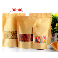 30pcs/lot 30cm*40cm+4cm*140micron Stand Up Zip Lock Paper Bag, Paper Bags For Gifts, Custom Paper Bags