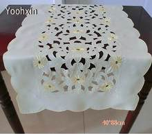 Luxury Yellow Satin Embroidery Bed Table Runner Flag Cloth Cover Damask  Lace Tea Coffee Tablecloth Party Kitchen Wedding Decor