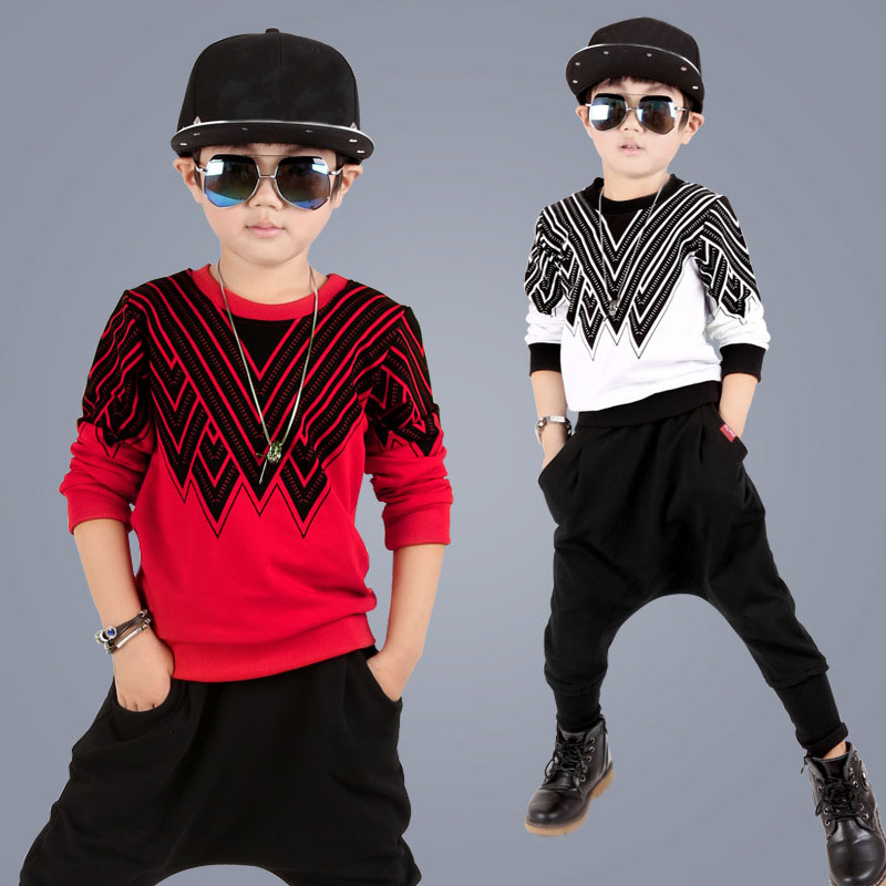 kids hip hop clothing Sets Kids Suit Children Tracksuit Boys Long Shirt + Pants Sweatshirt Casual Clothes 2 Color Size 4-12 year