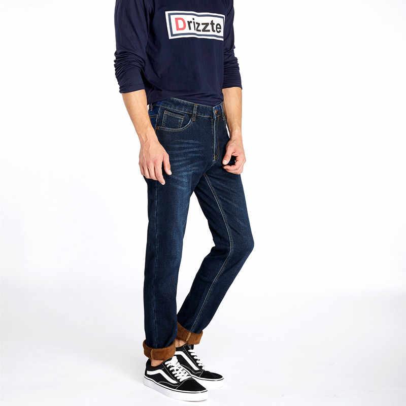 99ce574f47c ... Drizzte Jeans Mens Winter Warm Fleece Flannel Lined Stretch Black Blue  Denim Trousers Pants Size 28 ...