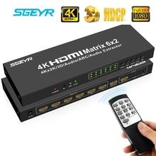STEYR 4K 6x2 HDMI Matrix Switch Splitter Remote Control 3D + ARC,SPDIF optical and 3.5 mm Audio Output hdmi matrix