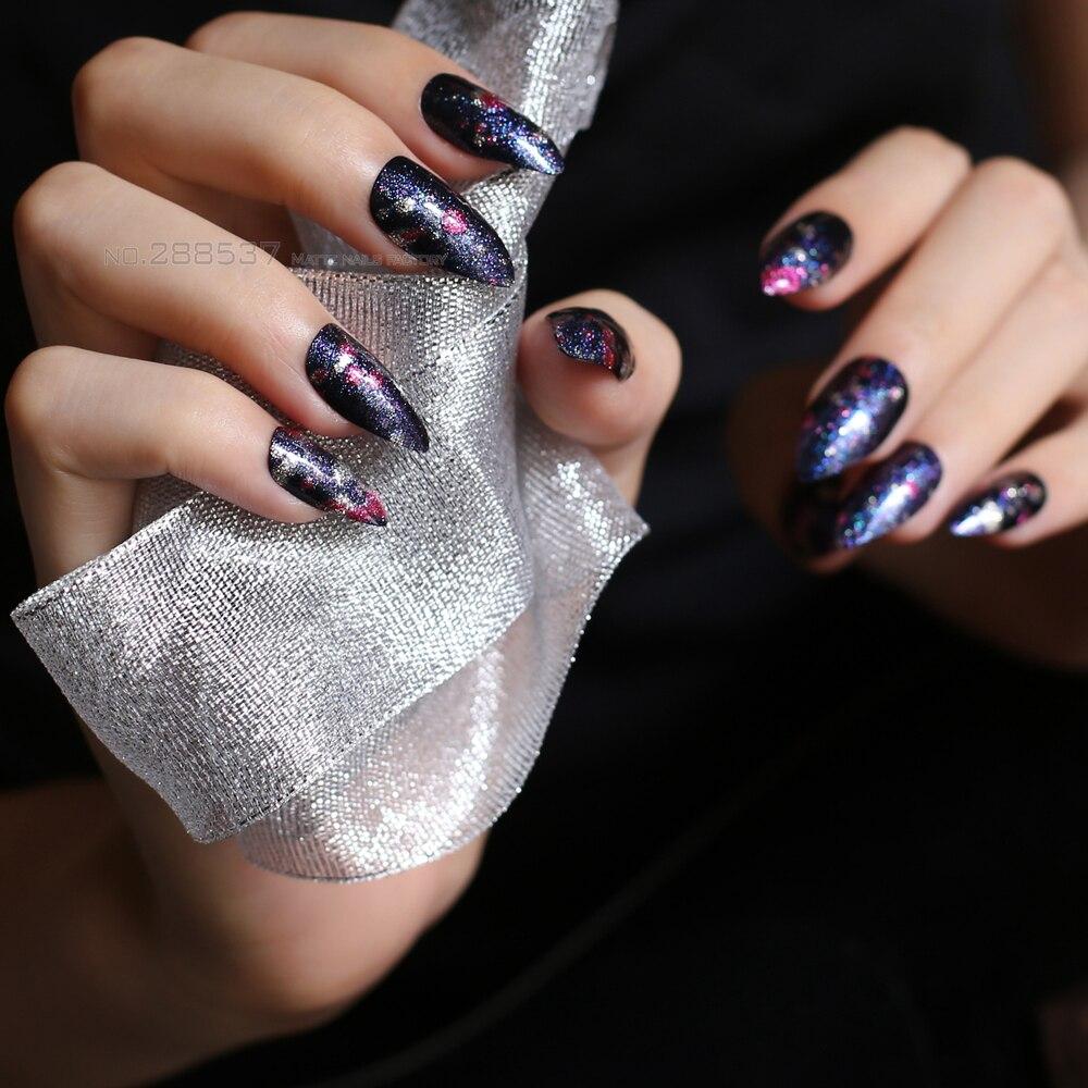 8db28e6a8a0 US $1.94 |Red blue flash 24pcs full sets Gradient stiletto false nails Art,  casual glitter Graffiti fake nail Pointed press on nails cool-in False ...