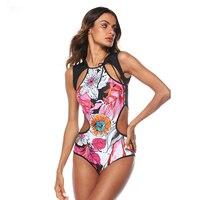 2019 Sexy Swimwear Women Colorful Floral Print Bikini Bodysuit Push Up Bathing Suit Hollow Out One Piece Swimsuit Beachwear