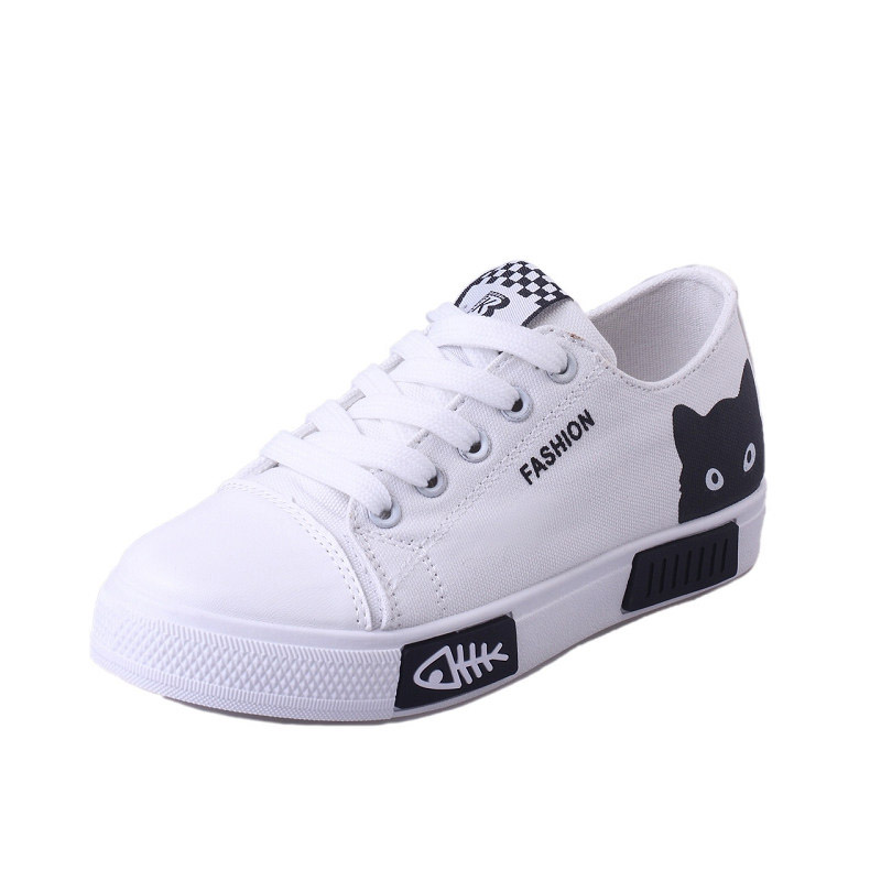2019 Women Vulcanized Sneakers Breathable Flat Casual White Shoes Cat Woman Spring and Autumn Canvas Shoes White Black2019 Women Vulcanized Sneakers Breathable Flat Casual White Shoes Cat Woman Spring and Autumn Canvas Shoes White Black