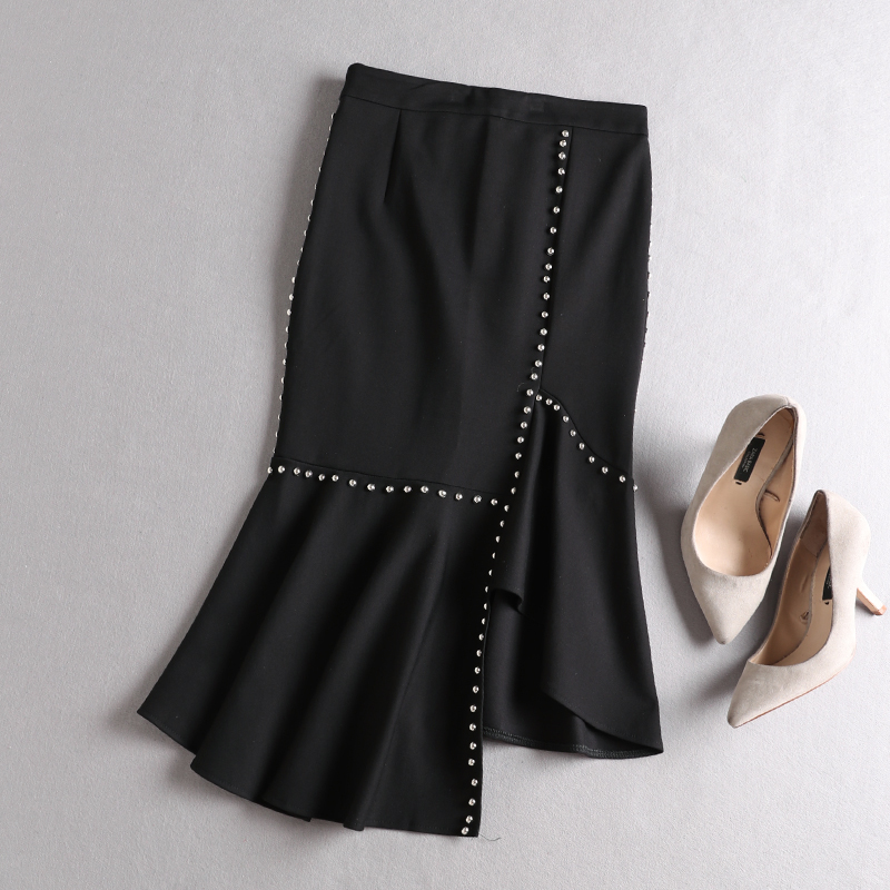 Hand Nail Drill Lotus Leaf Edge Tassel Shirt Women's Clothing High Waist Half Skirt Fishtail Skirt Two-piece Set