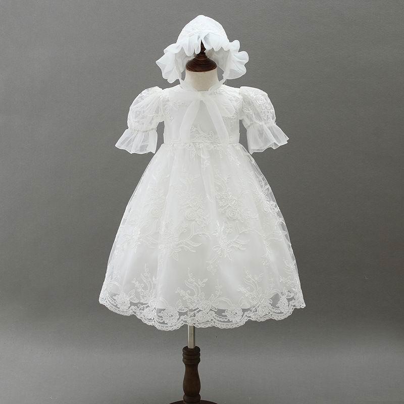 Bébé fille allonger robe de baptême premier anniversaire manches bouffantes dentelle robe de baptême + chapeau bébé vêtements 9668BB