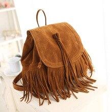2019 New Fashion Women Tassel Backpacks Girls Vintage Suede Shoulder School Bags Travel Backbags