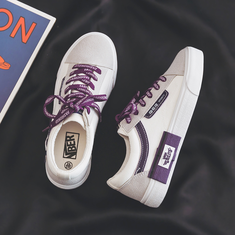 White Canvas Shoes Female Autumn Spring Women Sneakers Purple Black Lace Up 2019 New Lady Casual Shoes Zapatillas De Mujer 35-40White Canvas Shoes Female Autumn Spring Women Sneakers Purple Black Lace Up 2019 New Lady Casual Shoes Zapatillas De Mujer 35-40