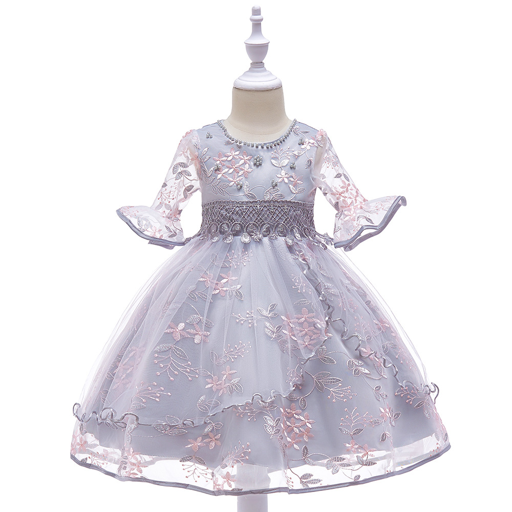 2018 Hot New Little   Girls   Pageant   Dress   Ball Gowns Beads Pleat   Flower     Girl     Dresses   Vestido De Daminha