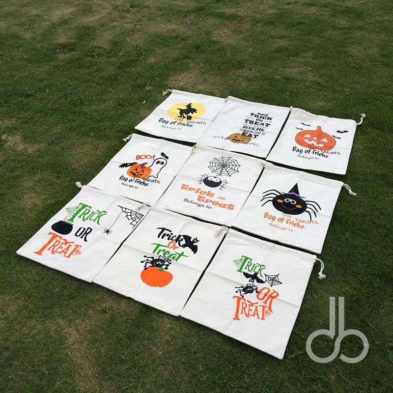 Fast Shipping Canvas Treat Or Trick Halloween Drawstring Bag Jack o Lantern Sack Spider Bat Witch