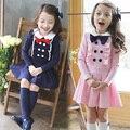 Estilo da escola Dos Miúdos Vestido Novo Babado Trespassado Criança Traje Da Princesa Arco Azul Rosa Crianças Vestido de Roupas Infantis Menina