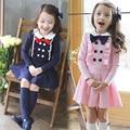 School Style Kids Dress New Frill Double-breasted Princess Costume Child Bow Roupas Infantis Menina Blue Pink  Kids Dress