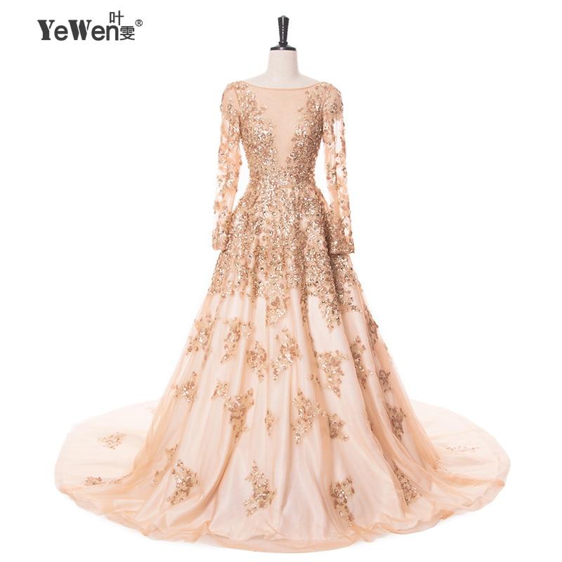 Oro con avorio Abiti Da Sera di Cristallo 2018 Maniche Lunghe Abiti di Promenade Lungo fomal dress robe de soiree vestido longo de festa