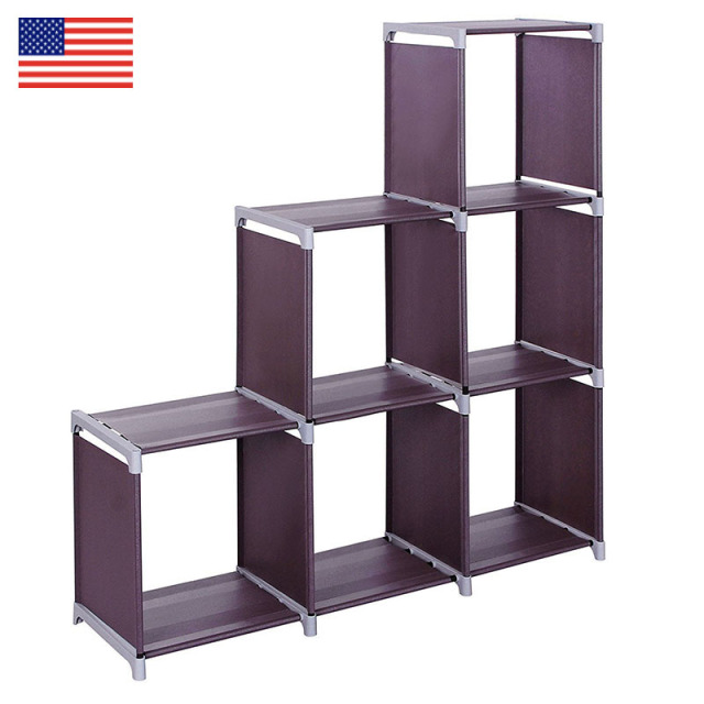 3 Layer 6 Grid Bookshelf Non Woven Fabric Organizer Storage Cabinet Assembly Wall