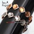 "A1-A015 Italina Rigant Fashion 0.4"" Width Chain Bracelet Bangle CZ 18KGP Jewelry"