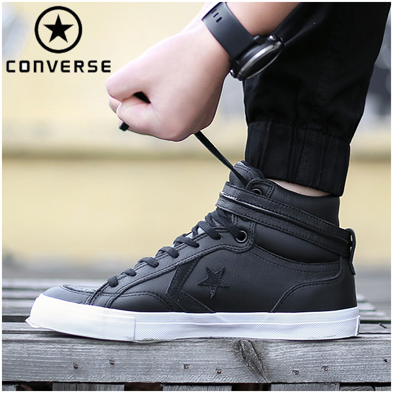 Authentic Men CONVERSE Sneakers Leisure Black Label Mens Shoes High-top Leather Light Th ...