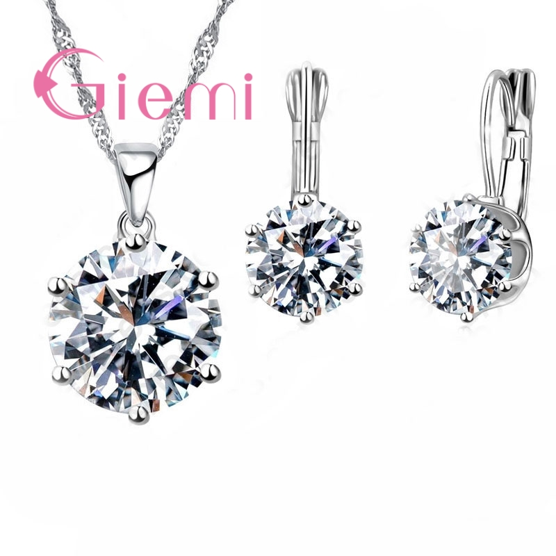 GIEMI Shining Hot Round Crystal Necklace Earrings for Lovely Women Wedding Ceremony Vow Jewel Set 925 Sterling Silver