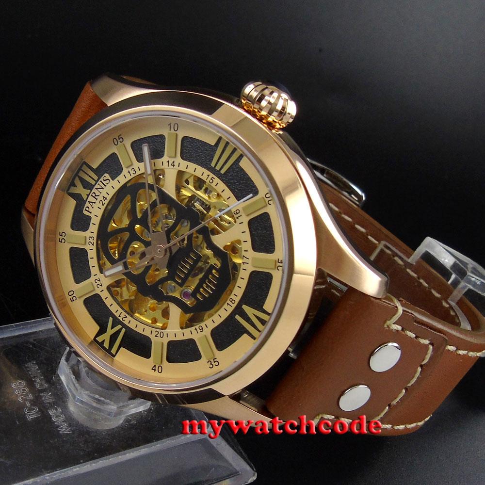 45mm Parnis skeleton Gold dial 21 jewels miyota 8N24 Automatic Mens Watch 588B цена и фото