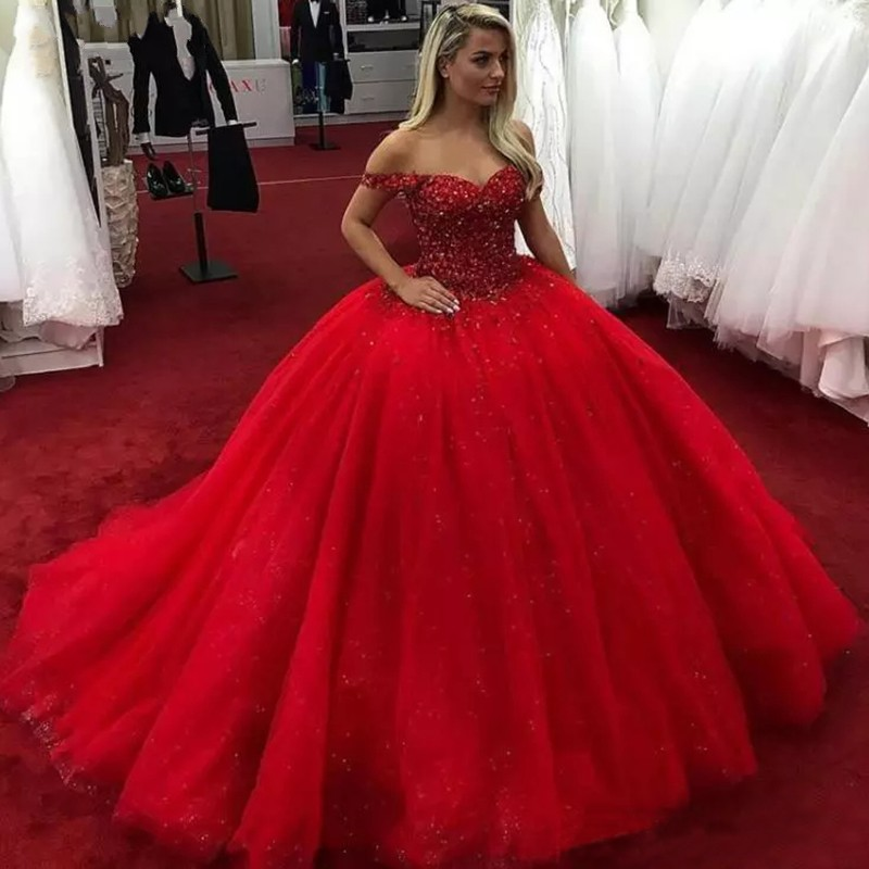 Luxury Red Wedding Dresses Top Beaded Tulle Shining Princess Wedding Dress Custom Made Puffy Formal Party