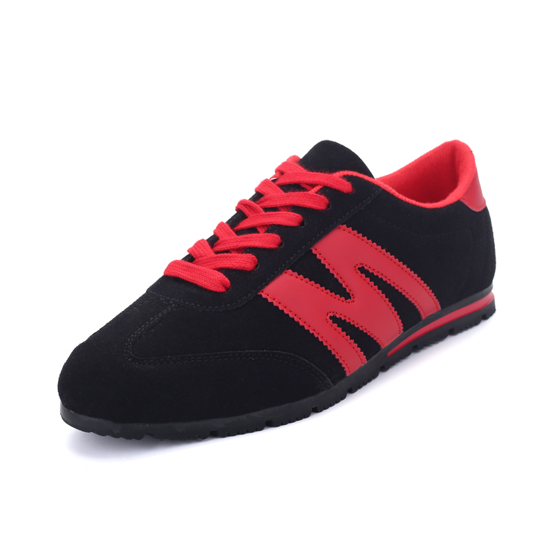New 2016 Leather Cow Shoes Men Sport Fashion Man Casual Breathable Jogging Walking Mens shoes Red