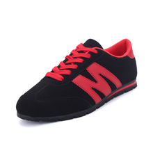 New 2016  Leather Cow Shoes Men Sport Fashion Man Casual Breathable Jogging Walking Mens shoes Red Blue Black Gray 4 Colors