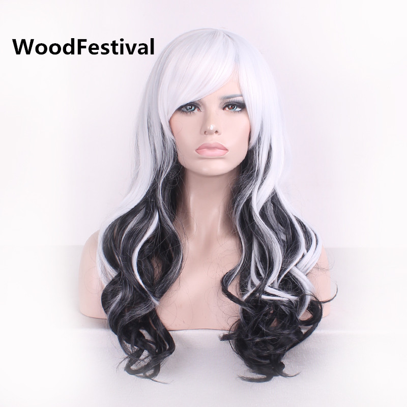 WoodFestival Women Black And White Synthetic Wig Long Wavy Cosplay Wigs With Bangs