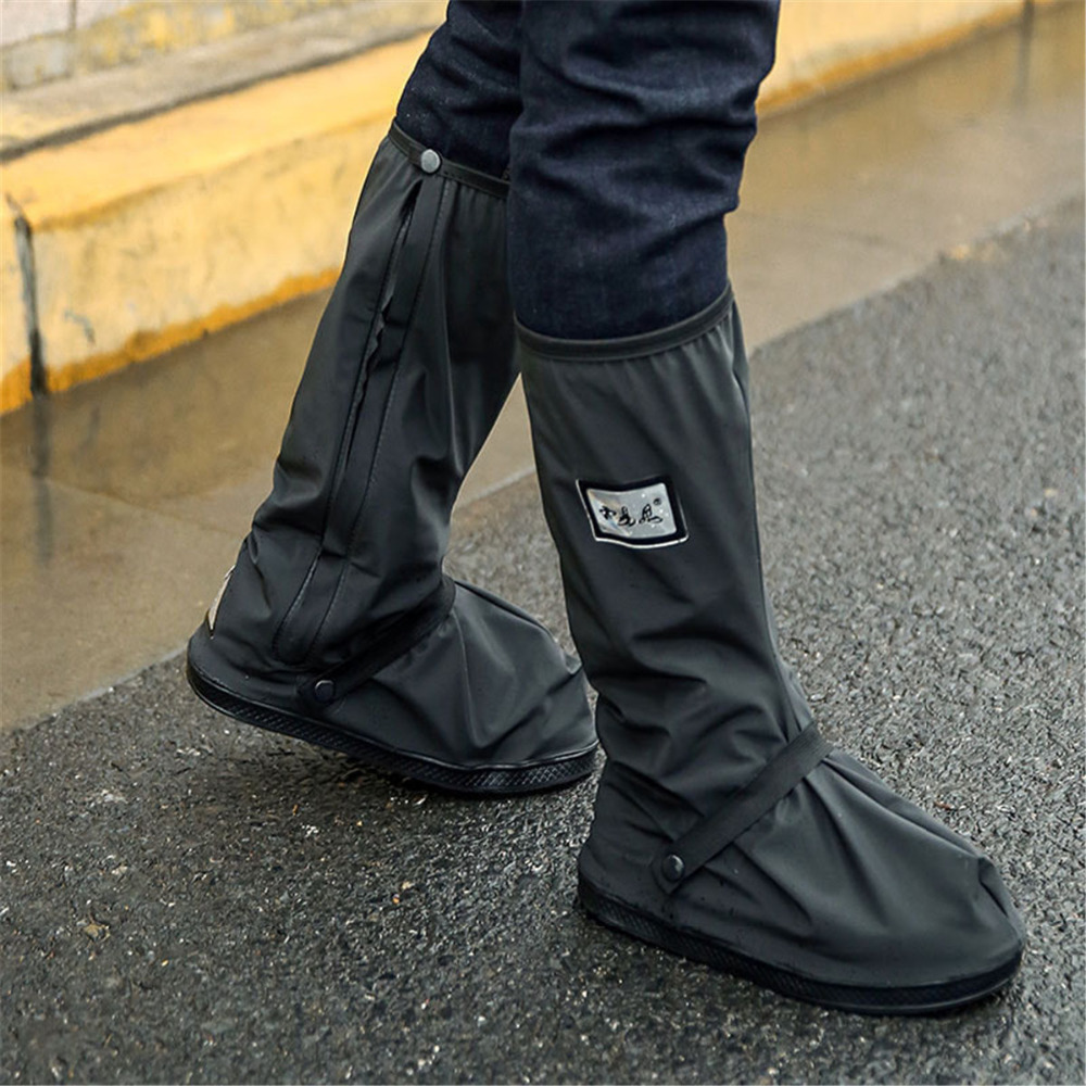 Reusable Waterproof Rain Shoes Covers Durable Winter Non-slip Motorcycle Scootor Overshoes Cover Galoshes Adjustable Mens Boots