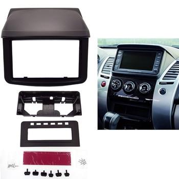 Top doble 2 Din coche rodean Panel fascia para Mitsubishi Pajero Sport Triton L200 con Mediados de Radio reposición Dash de montaje kit de