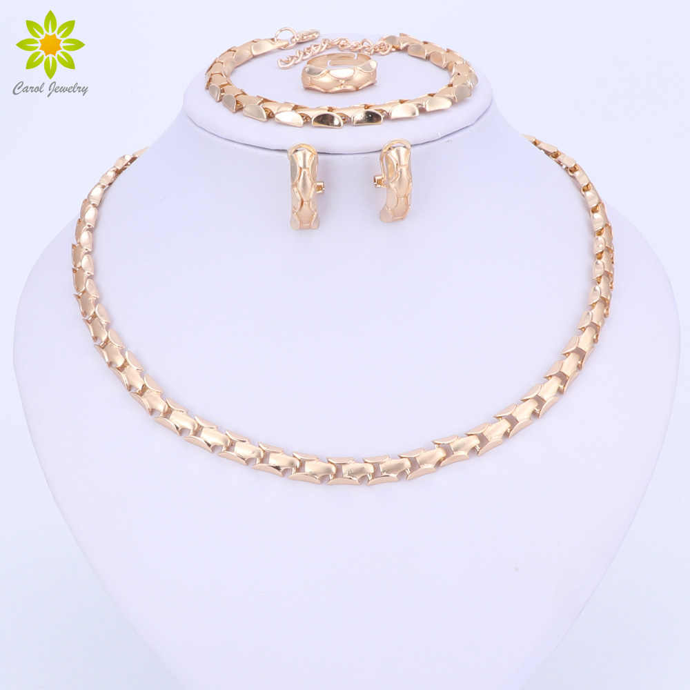 2017 Fashion African Beads Jewelry Set Exquisite Flash Dubai Gold Color Necklace Sets Nigerian Wedding Bridal Cheap Wholesale